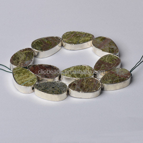 Gem Natural <strong>Stone</strong> CB49894 Rainforest Jasper Edge Palted Flat Drop Beads, Sliver Color /Golden Color