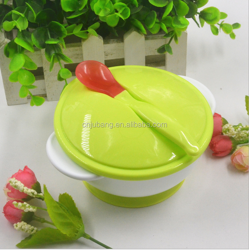 Baby PP silicone feeding suction bowl set with cover and spoon / baby Safety training bowl with spoon