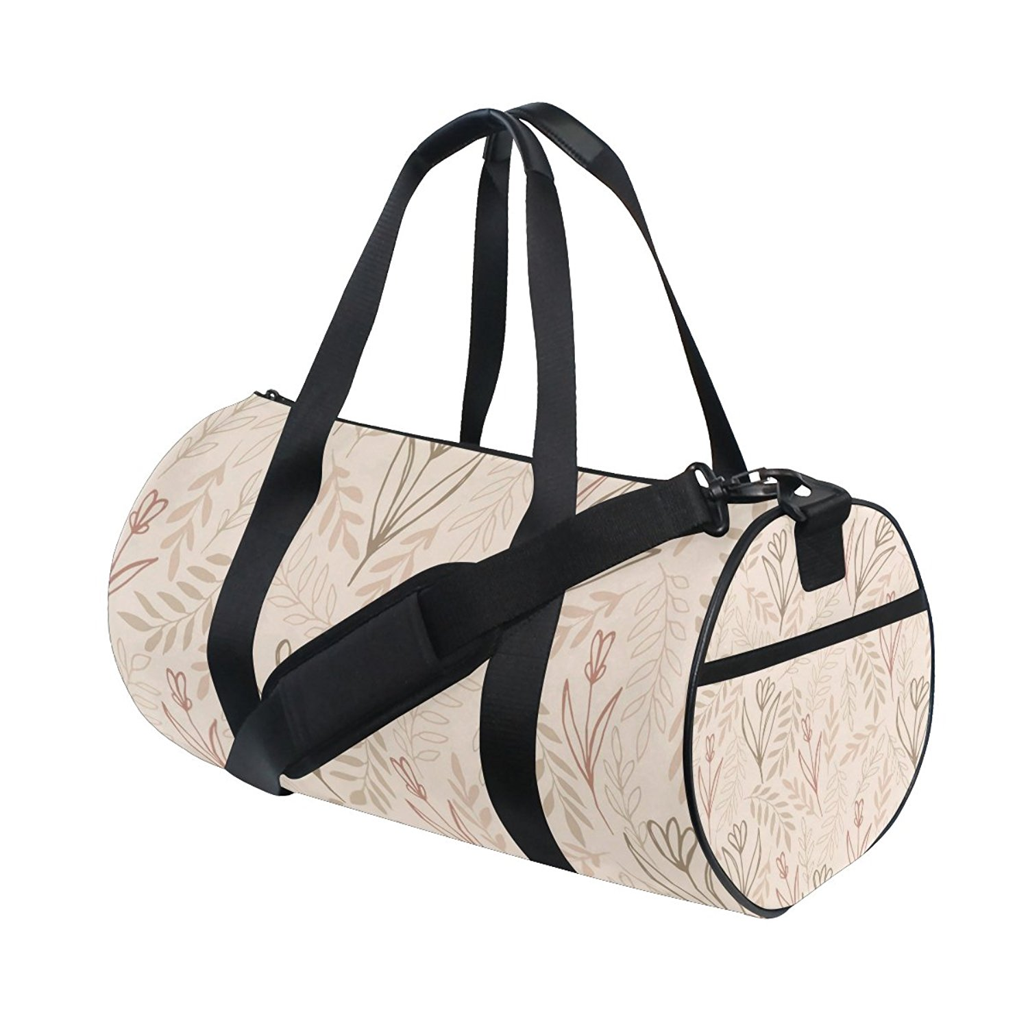 AHOMY Leaf Flower Tree Branches Pattern Lightweight Sports Gym Bag Small Duffel Bag Fashion Barrel Travel Fitness Tote Bag for Men and Women