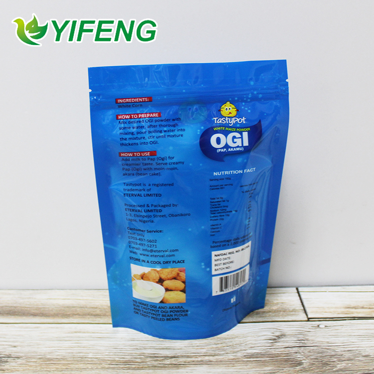 Biodegradable Grade Bag Package Aluminium Foil Packaging Plastic Stand Up Pouch With Zipper For Food Packing