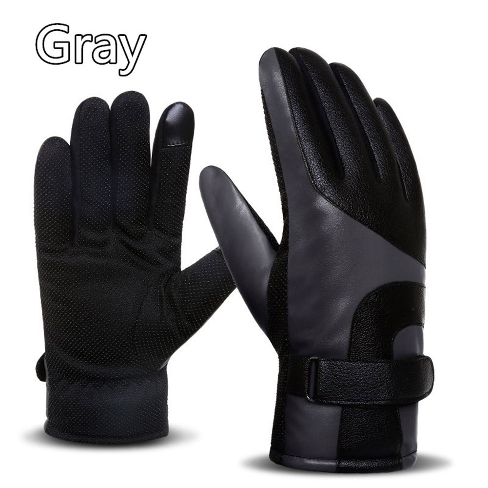 Leather Gloves, Winter Touchscreen Thickened Fleece-lined Windproof Warm Motorcycle Anti-skid Outdoor Riding