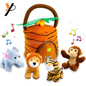 Plush Talking Jungle Animals Toy Set Plays Sounds