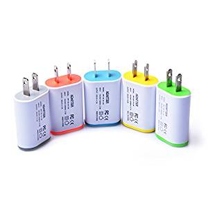 Weiup 5-Pack 1.0AMP Colorful Portable 1-Port USB Wall Charger Home Travel Plug Power Adapter For iPhone 6/6s 6/6s plus 5S, Samsung S7 S6 S5, HTC, LG, Motorola And More, Blue Green Yellow Grey Orange