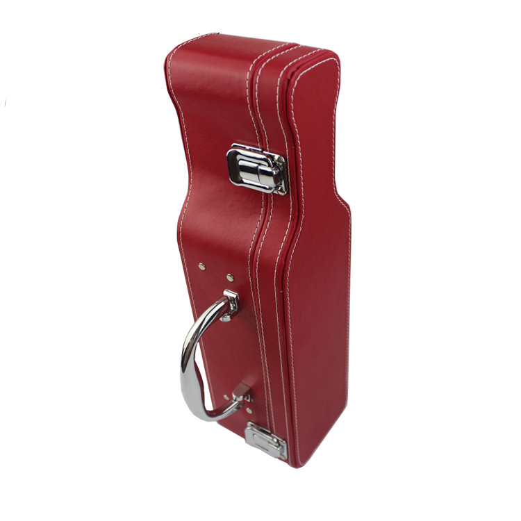 Custom piano violin shape pu leather single wine bottle package box with handle