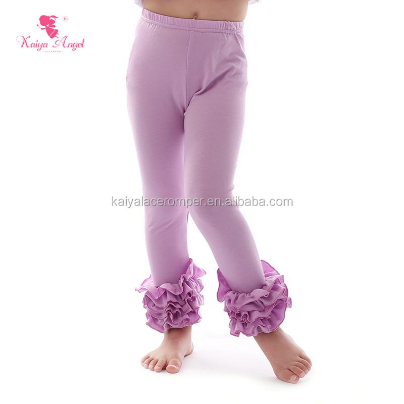 faba615a9b7d1 cotton purple solid color kids ruffle pants boutique girls leggings baby  girl icing leggings
