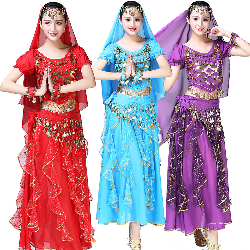 Sequined Performance Wear for Adult Arab Belly Dance Costume Suit Indian Bellydance Dancewear Costumes Set Competition Bollywood фото