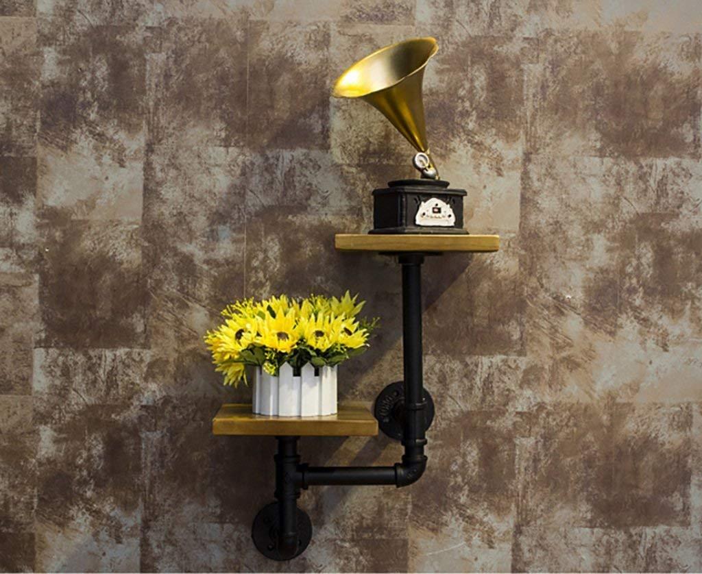 Gspsgj Vintage Plumbing Wrought Iron Wood Racks 2 Shelf Shelves Made of Old Wall-Mounted Decorative Racks