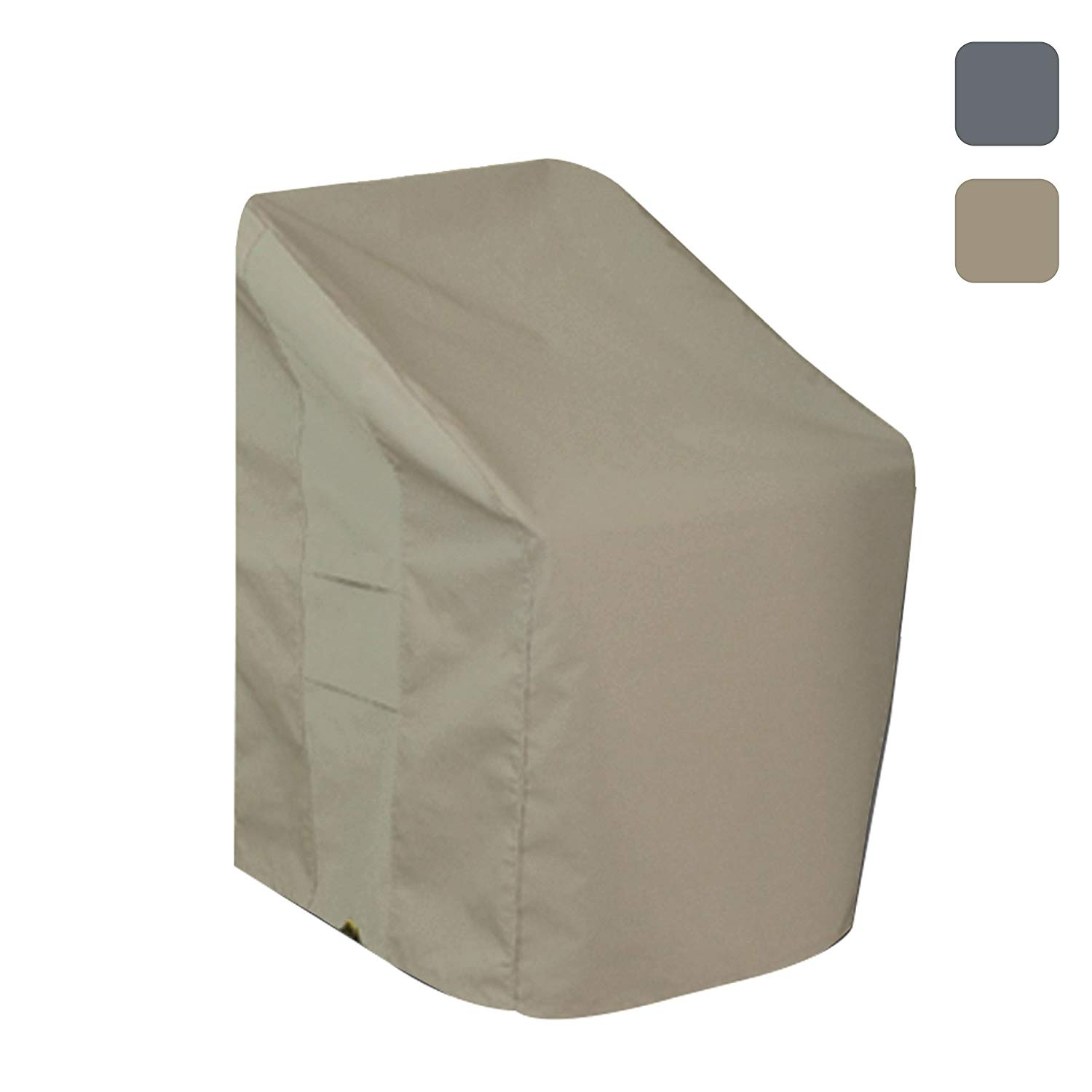 Patio Chair Cover- Waterproof, with Air vents, 100% UV-Resistant, 1000 D Both Side PVC Coated, Outdoor Furniture Stackable Chairs Covers with Drawstring for Snug fit to Withstand Winds & Storms, Beige