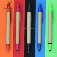 Magic plastic clip eco paper ballpoint pen with touch screen