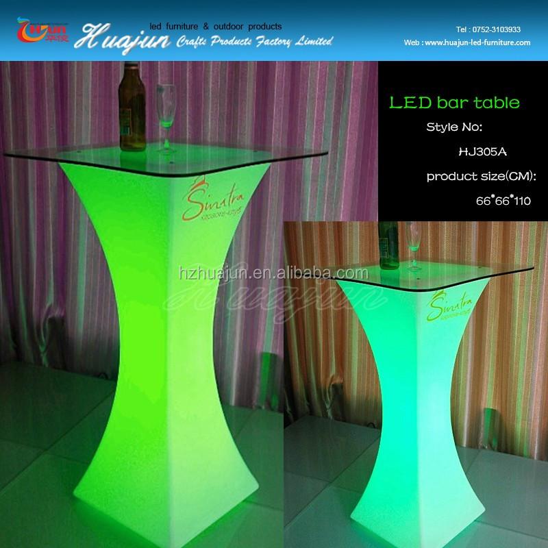 Vierkante glas top led bistro tafel voor koop, led glas bar tafel, led tafel bar tafels product
