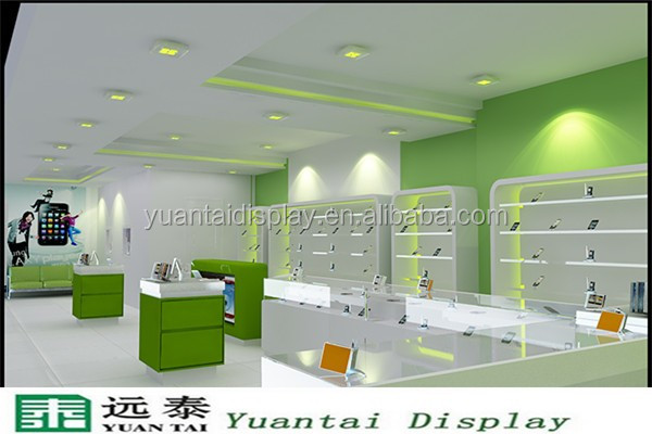 Shop Counter Mobile Phone Interior Design Decorations For Showcase