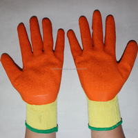 hard-wearing wrinkling rubber coated yellow cotton industry use safety working gloves
