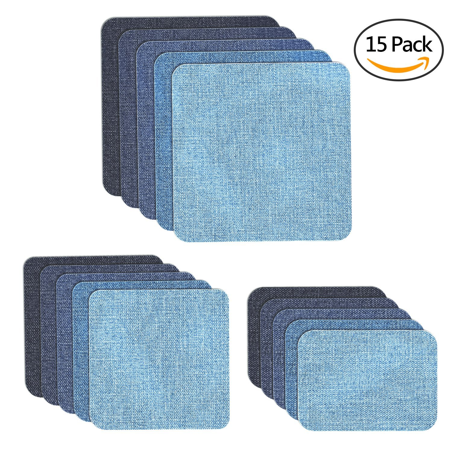 Iron on Denim Patches for Jeans, Muscccm 15 Pcs Sew On Patches For DIY Clothing Jeans Jackets Bags Iron-on Repair Kit, 5 Colors