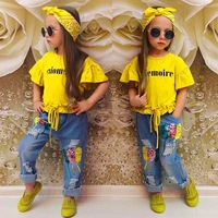2019 Kid Cloth Girls' Baby Wholesale Boutique Children Summer Outfit Little child Casual Wear Girl Clothing Set