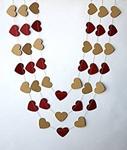 Rustic wedding decor, Wedding party decoration,Red cherry & kraft heart garland, Wedding heart garland, Rustic kraft brown valentine garland