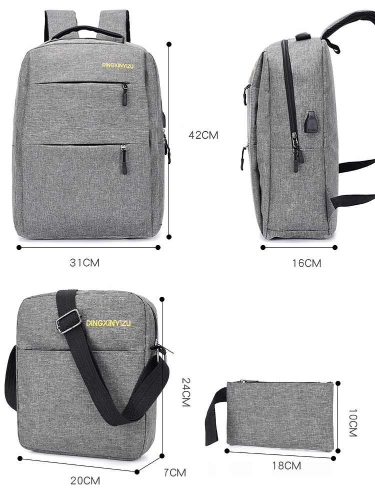 Waterproof School Travel Computer bag bagpack Smart USB charging Business Laptop Backpack set 3 in 1