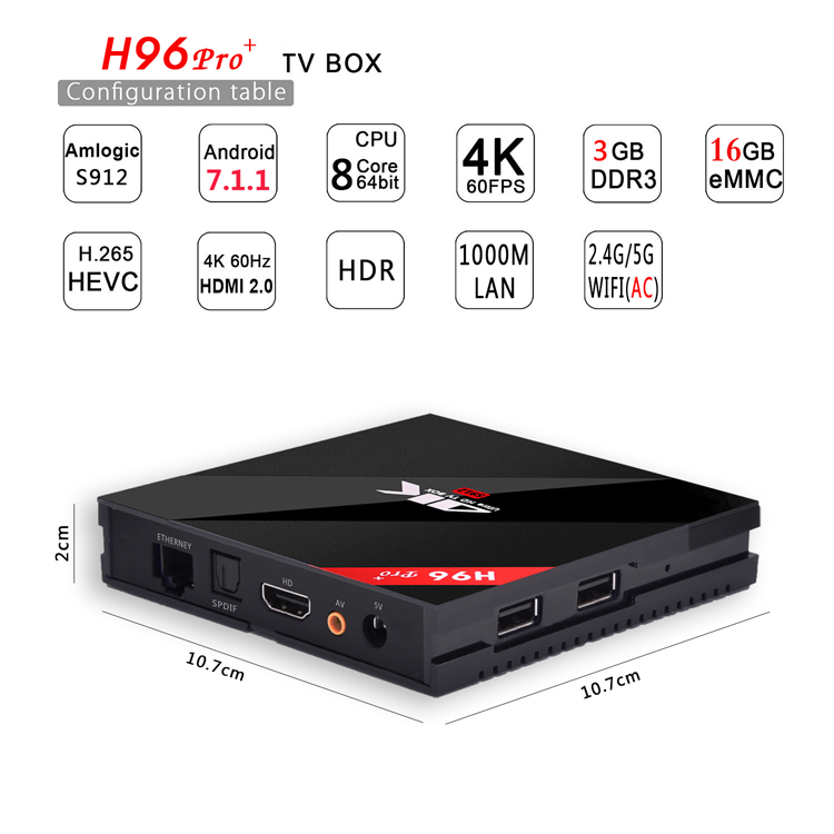 Factory Direct Amlogic S912 H96 Pro Plus Octacore Android TV Box 4k Set Top Box