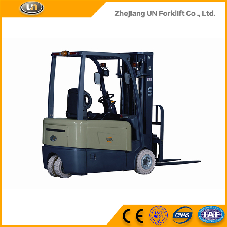 UN Three Wheel Forklift 1.6T Electric Dual Front Driven Motor Forklift With AC Work System