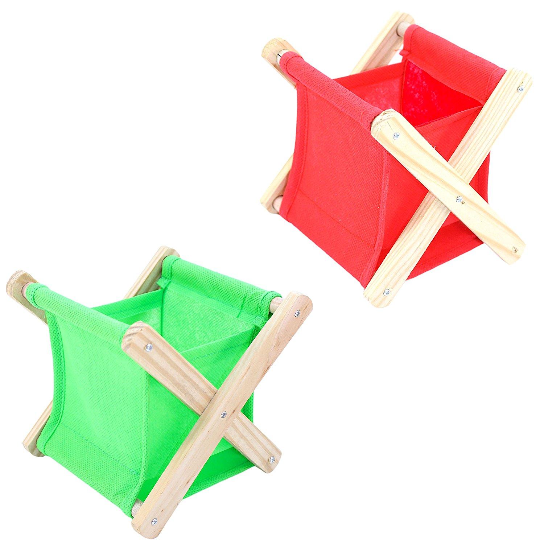 Set of 2 Desktop Folding Storage Baskets, Desktop Organizer Baskets (Red & Green)