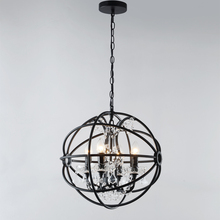 American spherical vintage 8-lights Foucaut's ORB clear crystal chandelier ,retro rustic iron pendant lamp with UL/CE