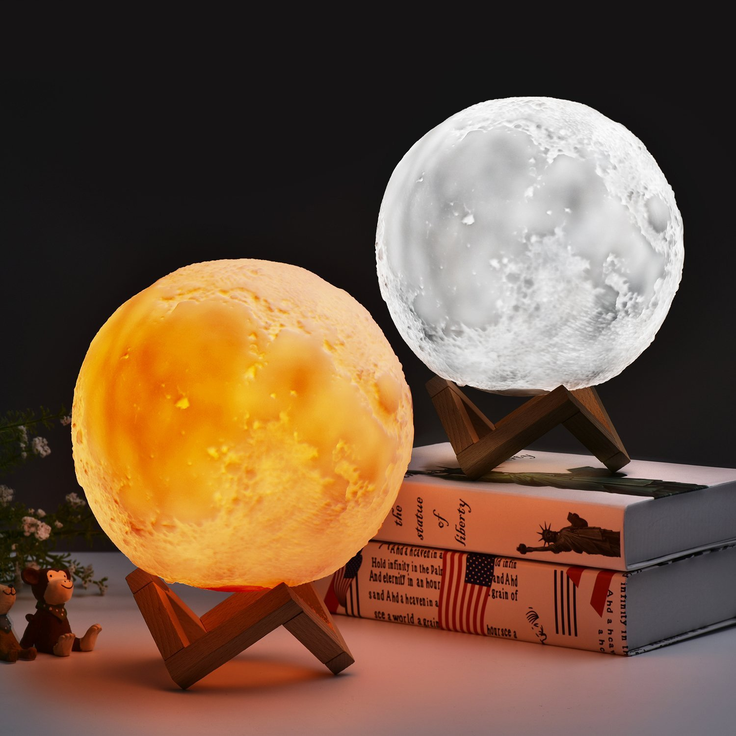 Get Quotations Moon Lamp Asdomo 18cm 15cm With Wooden Bracket Touch For Home Decorative