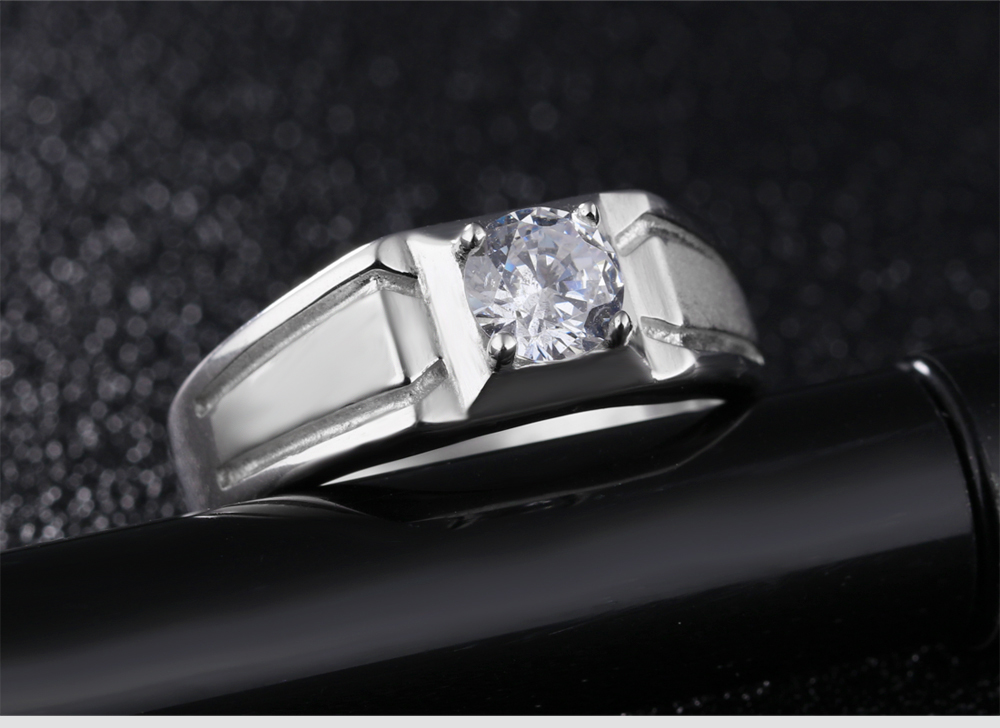 Custom Latest Fashion Design Jewelery 925 Sterling Silver Diamond Ring For Men