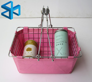 hsx-737 wholesale factory price Logo Printed Cloth Small Size Cosmetic store light Shopping basket metal