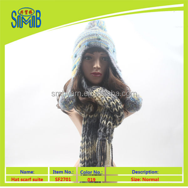 shanghai wolle lady cap shawl factory shingmore wholesale supply oeko tex manual knitted hat and scarf set
