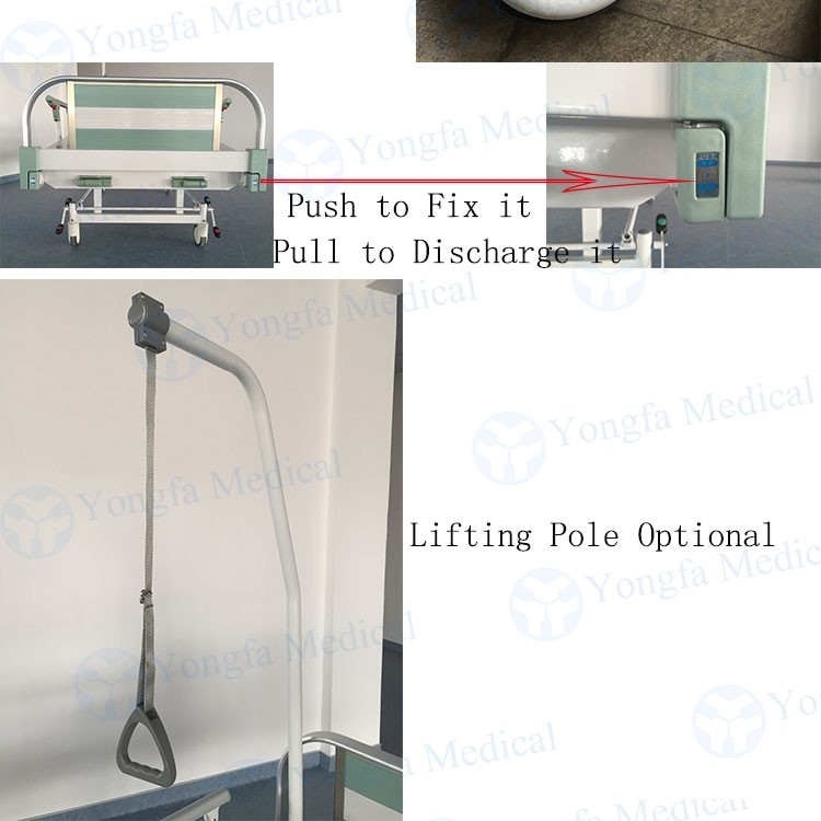 Aluminum Alloy Head &Footboard  Manual Hospital Bed With Lifting Pole