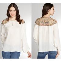 2014 Latest Style Long Sleeve White Chiffon Embroidery Blouse