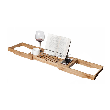 New Design Bamboo Bathtub Caddy Includes Book / Tablet Stand,Glass ...