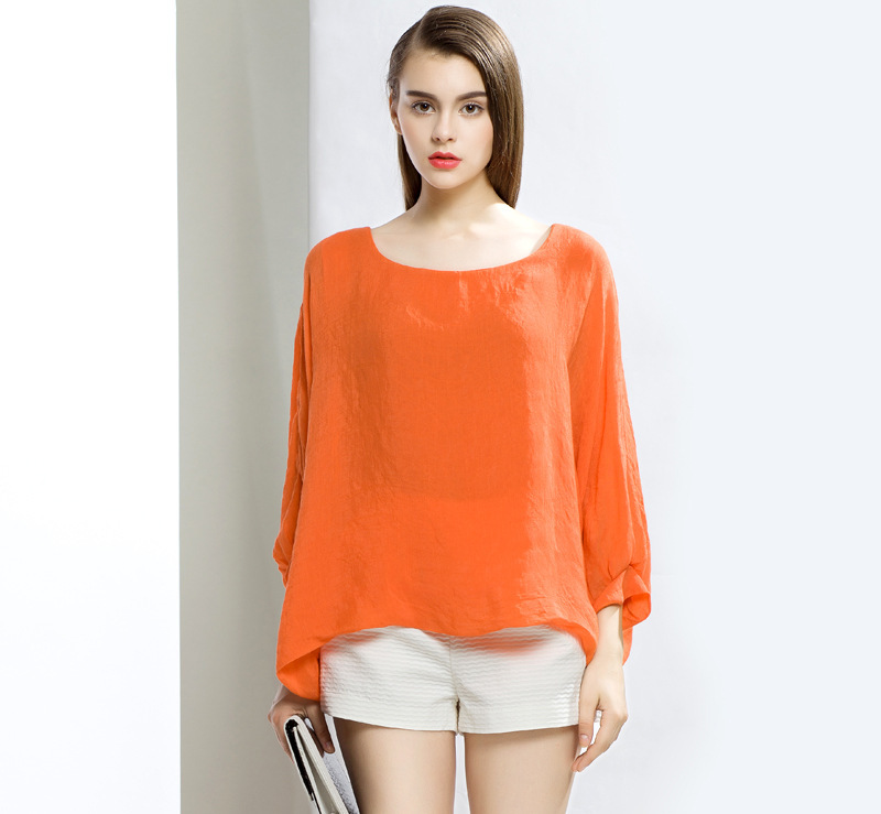 Women Casual Loose Orange Plus Size Balloon Full Sleeve Solid Blouses And Shirts 2015 Blusa Camisa feminina Spring Summer Style