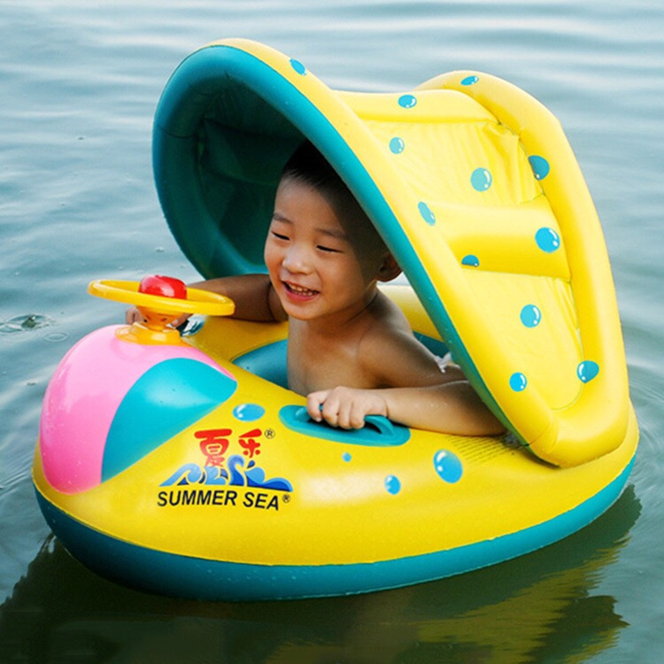 New Arrival PVC Baby Swim Ring with Canopy Children Pool Float