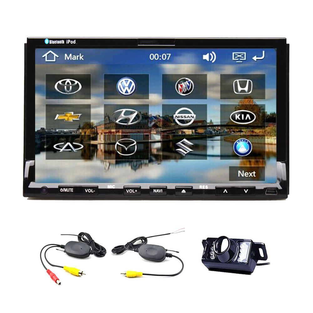 backup camera with in dash 7 2 din gps car digital touchscreen 7 inch car dvd cd player radio. Black Bedroom Furniture Sets. Home Design Ideas