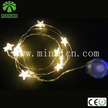 Star button battery operated copper string holiday time christmas lights