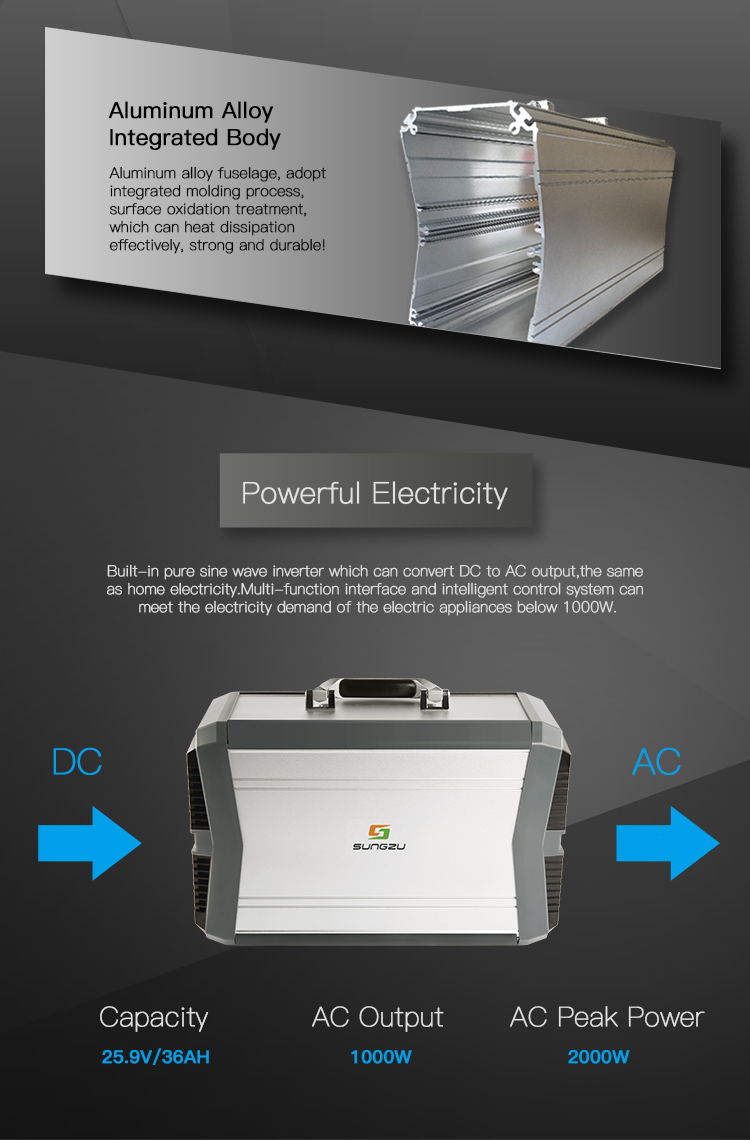 1000W High Quality Solar Air Conditioner Power Bank Built-in Pure Sine Wave