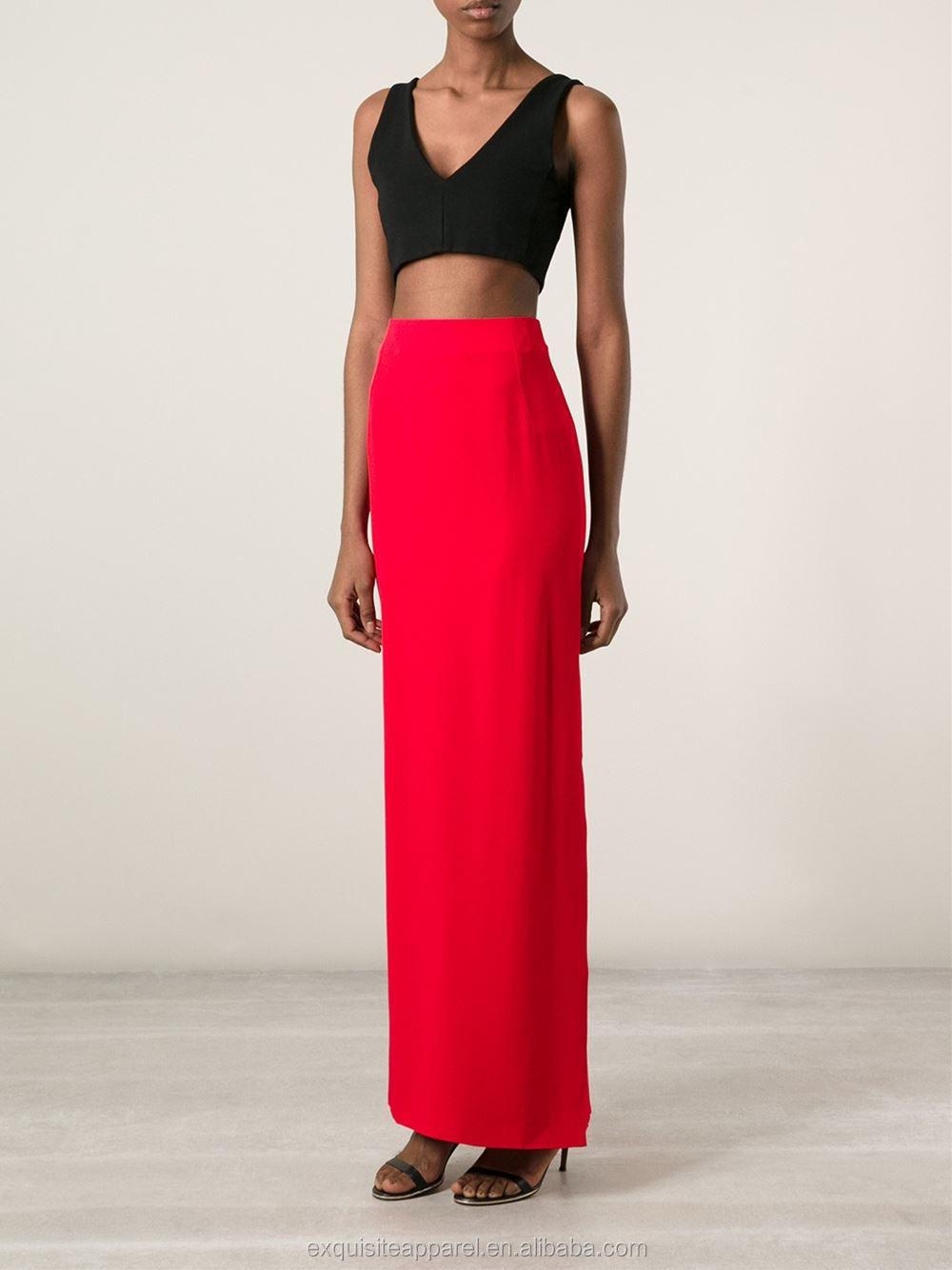 95bcfa93c0 Custom 100% viscosa larga falda apretada rojo largo Falda recta comprar  directamente del fabricante