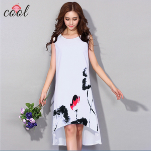 Frock design women plus size clothing Chinese ink painting sleeveless plus size dress women a-line dresses