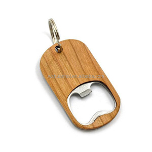 custom wooden handle metal bottle opener with key ring