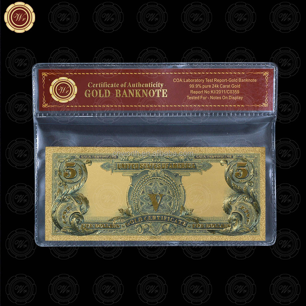 WR arte 99.9 oro billete de América colorido 5 dólares papel moneda ...