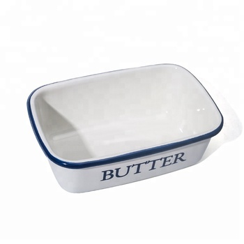 christmas cast iron white enamel mini casserole rectangle ramekin butter dish with wooden lid