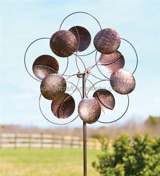 Perfect Oversized Bronze Circles Garden Metal Wind Spinner