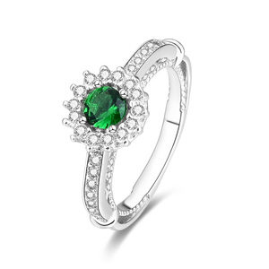 POLIVA Fashion Jewelry S925 Sterling Silver Big Gemstone Cabochons Green Crystal Cocktail Beautiful Rings