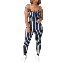 Groothandel Een Stuk Donkerblauw Streep Sling Strakke Bodycon Sexy <span class=keywords><strong>Jumpsuit</strong></span> <span class=keywords><strong>Vrouwen</strong></span>