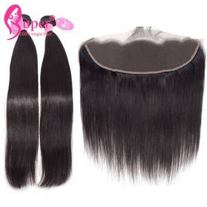 Cheap 100 Virgin Brazilian Silky Straight Hair Ear To Ear Lace Frontal 13x4 With Bundles Weave Vendors