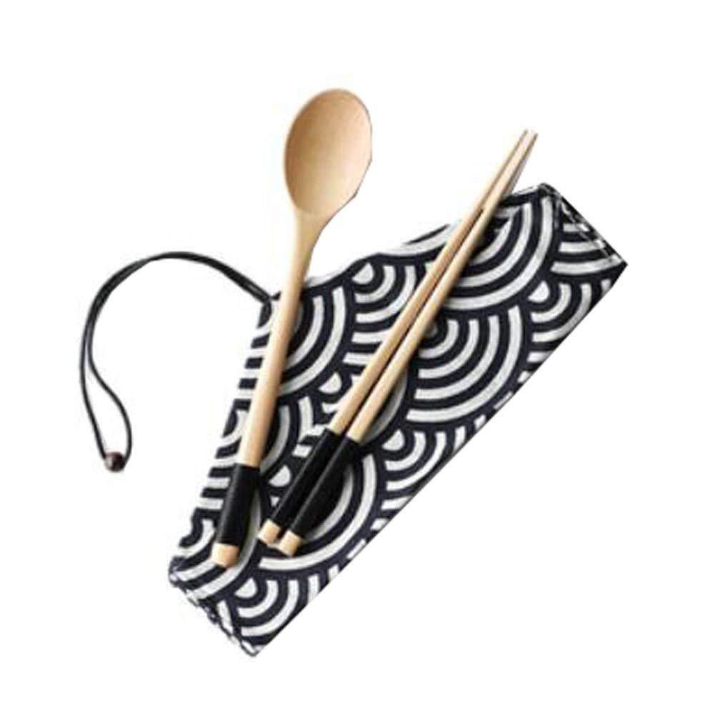Hornet Park Japanese-Style Retro Wooden Flatware-Sets Three-piece Chopsticks/Spoon/Cloth Bag [C]