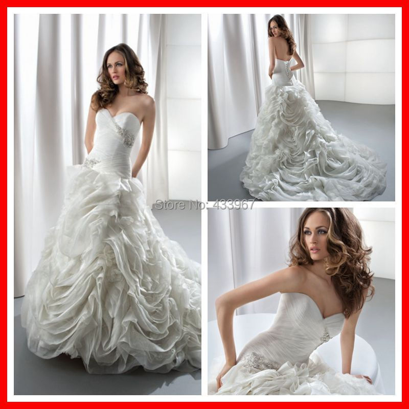 Crystal Bodice Wedding Gown: Organza Fit And Flare Pleated Bodice Sweetheart Neckline
