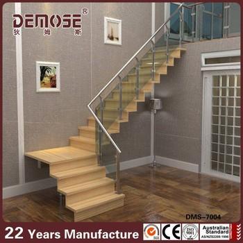 tapete da escada antiderrapante / escada de madeira do corrimão de aço interno