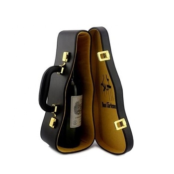 Diy vintage black single bottle violin shape leather wine box/wine case/wine carrier