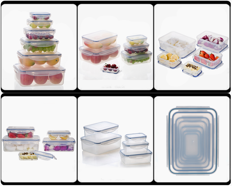 Airtight Plastic Food Storage Containers with 4-Side Locking Lids, Set of 5